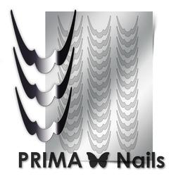 Металлизированные наклейки Prima Nails. Арт.CL-009, Серебро