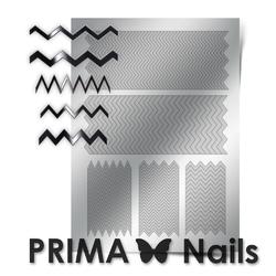 Металлизированные наклейки Prima Nails. Арт. GM-06, Серебро
