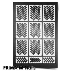 Трафарет для ногтей PrimaNails. Кирпичики 2. NEW SIZE