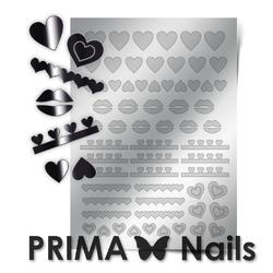 Металлизированные наклейки Prima Nails. Арт. LV-01, Серебро