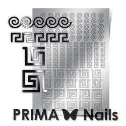 Металлизированные наклейки Prima Nails. Арт.OR-004, Серебро