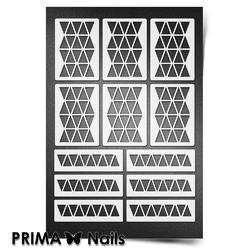 Трафарет для ногтей PrimaNails. Орнамент Треугольники. NEW SIZE