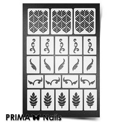 Трафарет для ногтей PrimaNails. Растительный узор - 1. NEW SIZE