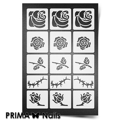 Трафарет для ногтей PrimaNails. Розы. NEW SIZE