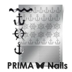Металлизированные наклейки Prima Nails. Арт.SEA-001, Серебро