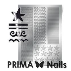 Металлизированные наклейки Prima Nails. Арт.SEA-003, Серебро