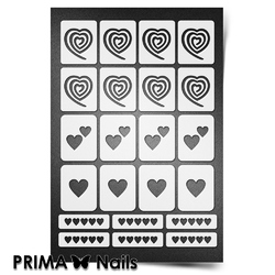 Трафарет для ногтей PrimaNails. Сердечки. NEW SIZE