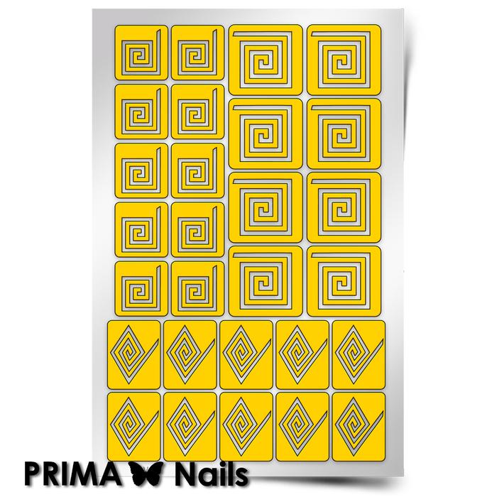 """Трафарет для дизайна ногтей PrimaNails. Спирали """"Квадрат"""""""